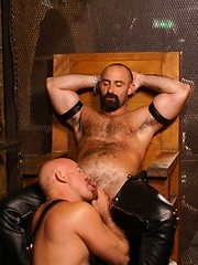 Favourite hairy hunk Butch Grand opens the show at the Hoist with a fellow thick dicked bear