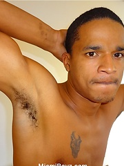 Bronzed black stud from Miami strokes his really big dick