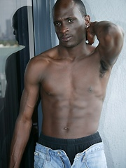 Beefy stud from Africa showing his naked and absolutely black body