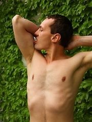 Gorgeous Tim Sitwell busts a nut outdoors.