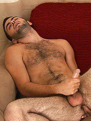 Josh spreads his legs and starts to play with that furry hole
