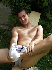 Very sexy Marco Sun jerking off in the backyard.